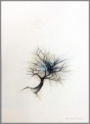 Kristof Everart n° 5626 [Sans titre] 2014 Dessin originalDessin crayon sur carton bois 70 X 50 cm