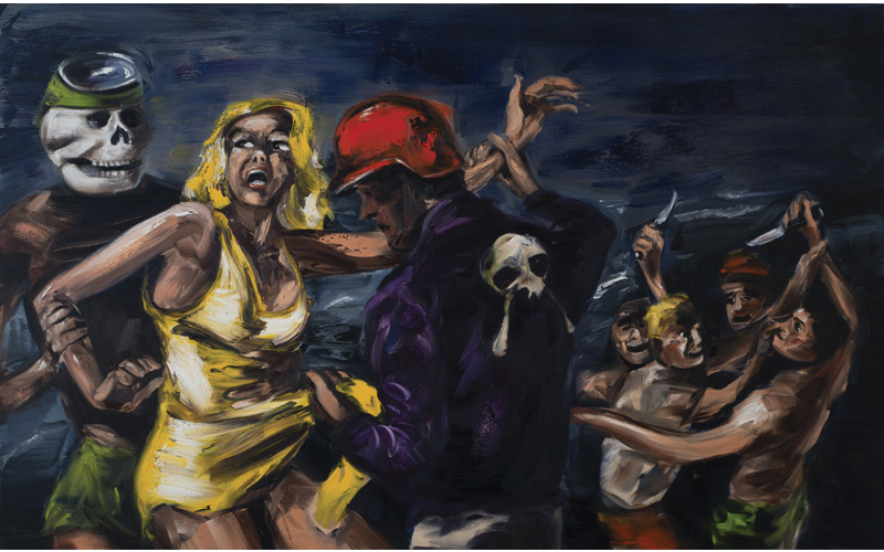 "Gregory Forstner, ""Blondie and the Sons of Bitches (on the Beach)"", 2013,180 x 290 cm, huile sur toile"