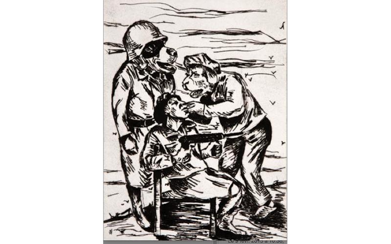 """Gregory Forstner, """"Young Soldiar"""", 2009, 56 x 38 cm, Gravure à l'eau-forte monochrome sur papier, fait à la main, provenant d'un portfolio comprenant sept planches. Edition Galerie Zink New York"""
