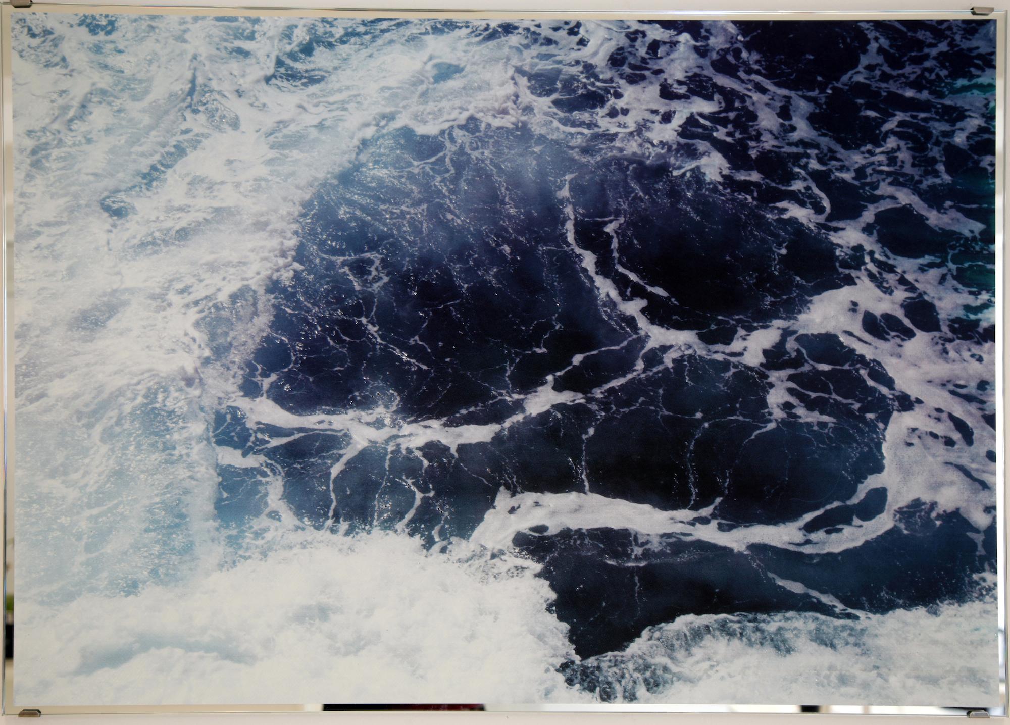 """David Ancelin, """"Sans titre"""", Série Marble sea, 2013, 100 x 70 cm , Sérigraphie grattée sur miroir , Pièce unique"""