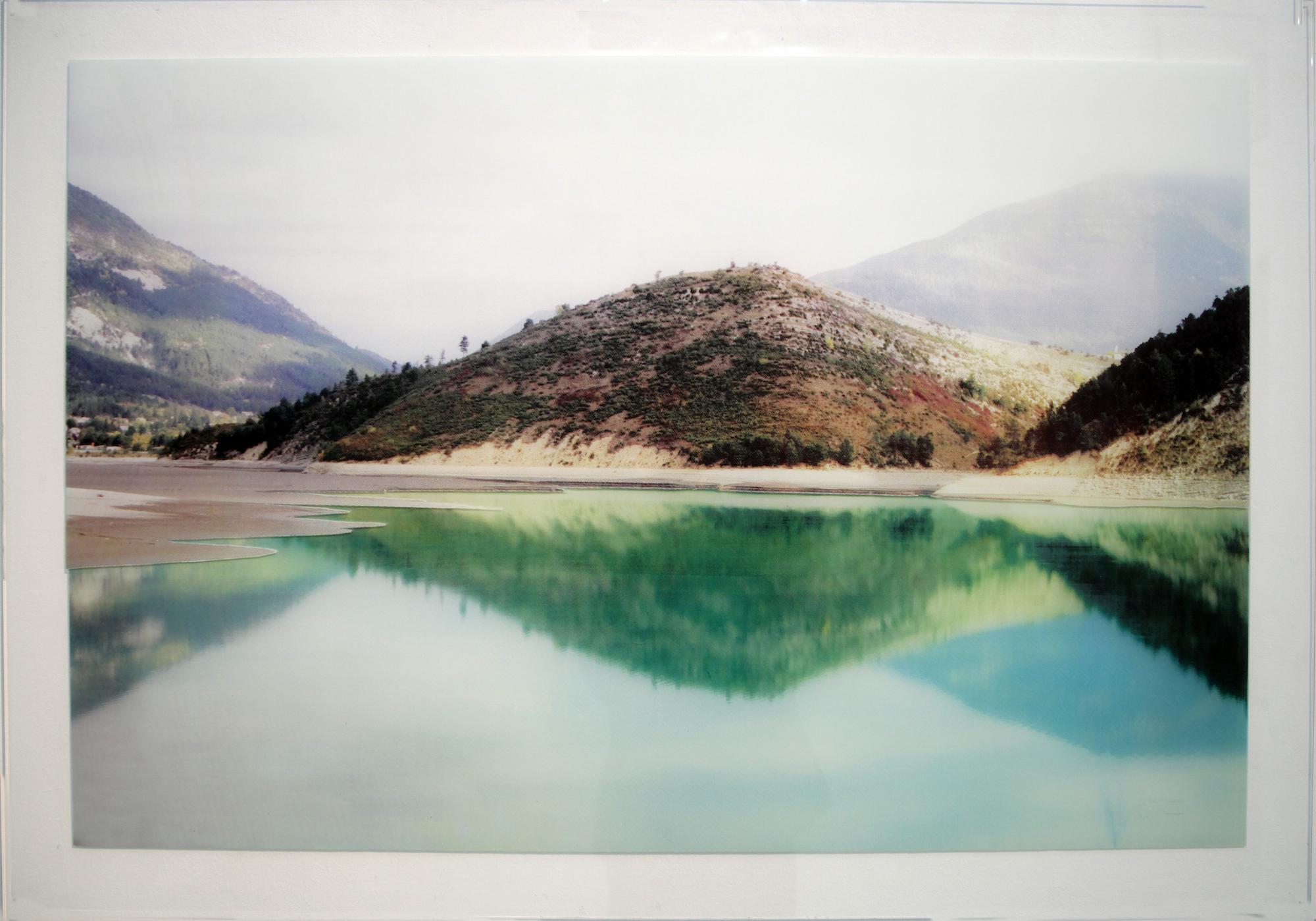 """David Ancelin,""""The Mountain"""", Série CMYK , 2014, 100 x 70 cm, Sérigraphie sur verre recto verso, Pièce unique"""