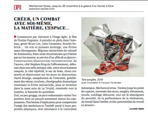 Article de presse sur l'exposition MECHANICAL STRESS paru dans le n°866 du magazine Tribune le vendredi 21 Octobre 2016