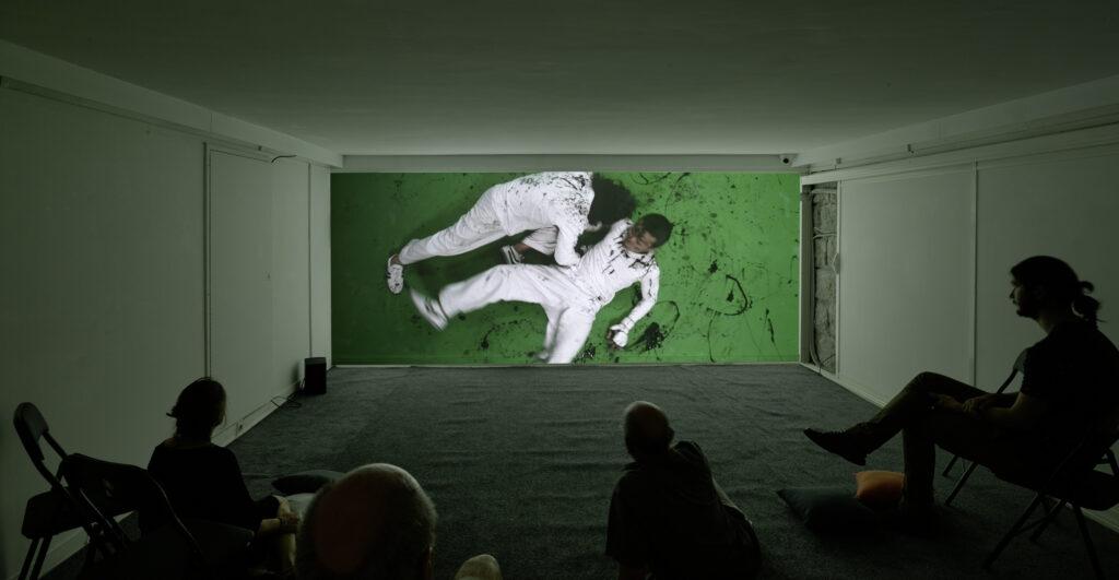 "Florian PUGNAIRE Exposition ""Mechanical Stress"" Galerie Eva Vautier 2016 Projection ""Agôn"""